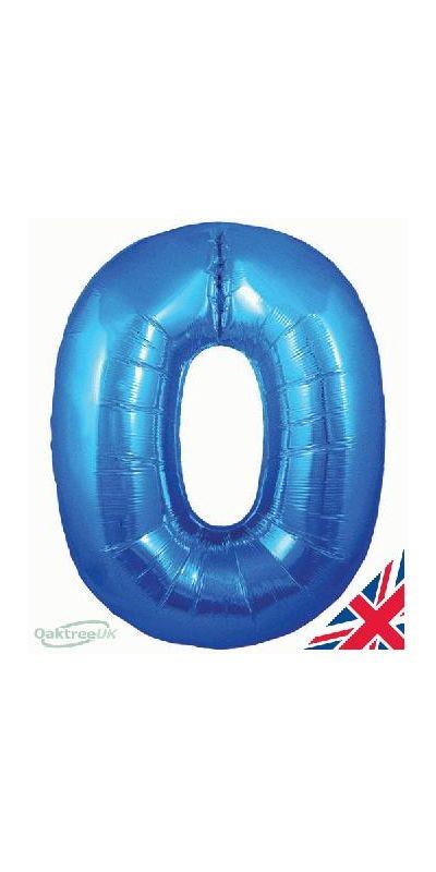 Metallic Blue number 0 giant balloon 30 inch