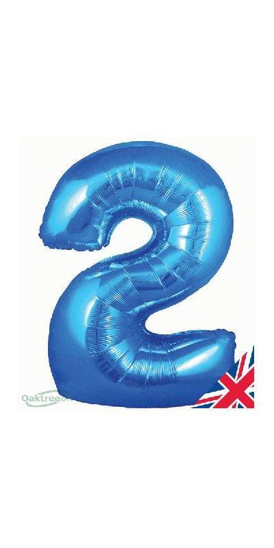 Metallic Blue number 2 giant balloon 30 inch