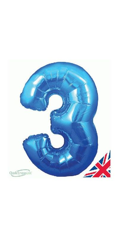 Metallic Blue number 3 giant balloon 30 inch