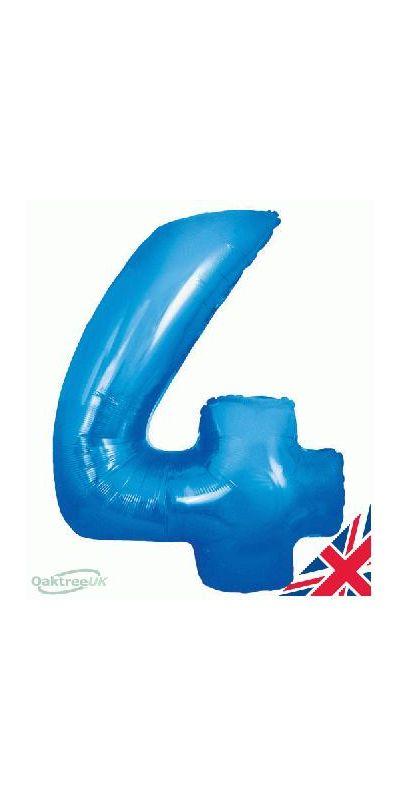 Metallic Blue number 4 giant balloon 30 inch