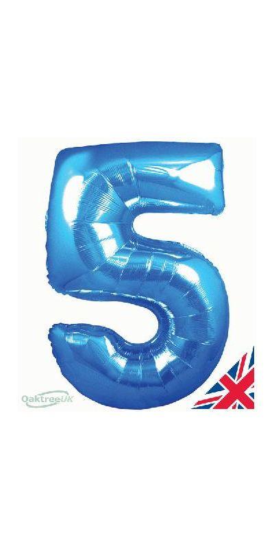 Metallic Blue number 5 giant balloon 30 inch