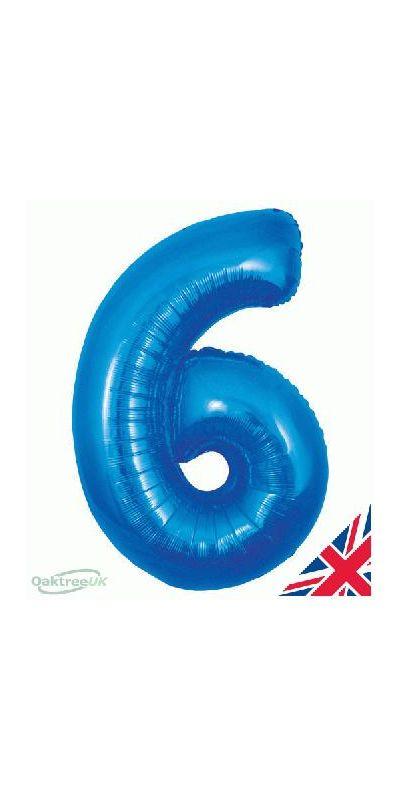 Metallic Blue number 6 giant balloon 30 inch