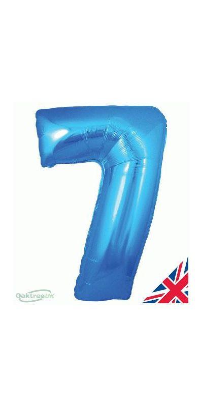 Metallic Blue number 7 giant balloon 30 inch