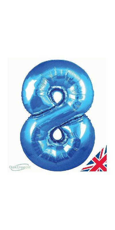Metallic Blue number 8 giant balloon 30 inch