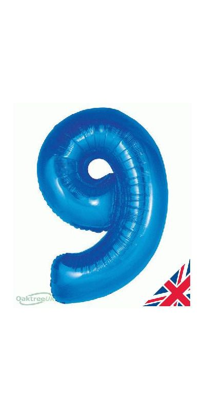 Metallic Blue number 9 giant balloon 30 inch