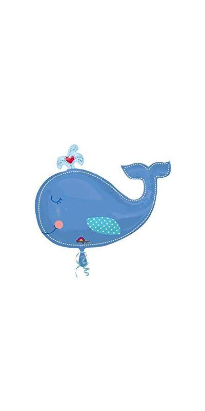 Blue Whale Heart Supershape Balloon