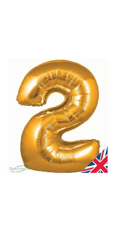 Metallic Gold number 2 giant balloon 30 inch