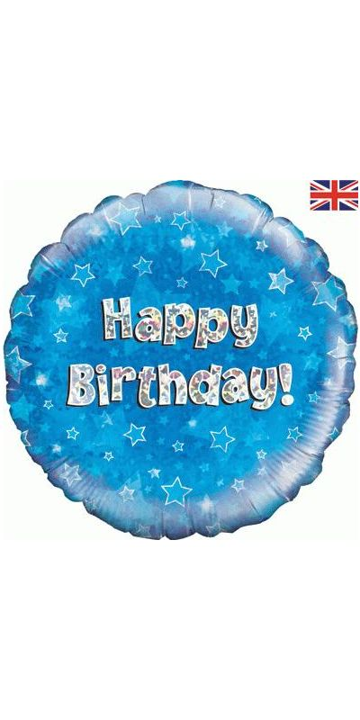 Holographic Blue Happy Birthday foil balloon 18 inch