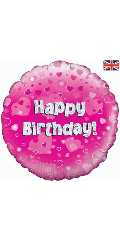 Holographic Pink Happy Birthday foil balloon 18 inch