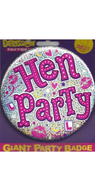 Giant Badge Holographic Pink Hen Party
