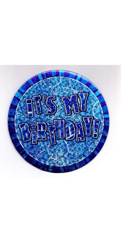 Giant Birthday Badge Holographic Blue
