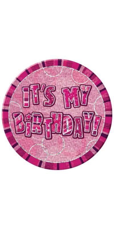 Giant Birthday Badge Holographic Pink