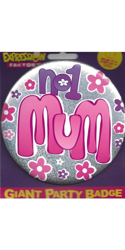 Giant Badge Holographic Pink No1 Mum