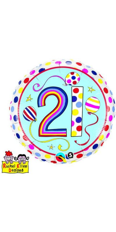 21st Birthday Balloon Rachel Ellen design foil 18 inch