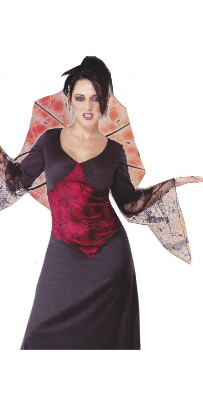 Vampire Woman Outfit Spiderweb Large Size 16 to 18