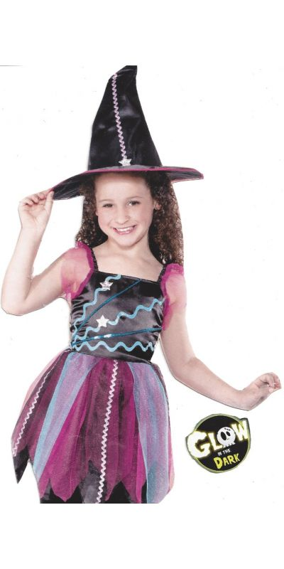 Star Bright Witch Glow In Dark Costume Child Age 5 - 6